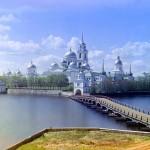 Monastery of St. Nilus on Stolbny Island in Lake Seliger near Ostashkov, by Sergey Mikhaylovich Prokudin-Gorsky, ca. 1910.